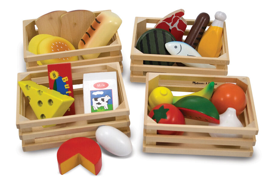 Melissa Doug Food Groups Wooden Kitchen Play Food Role Play Educational Toy Ebay