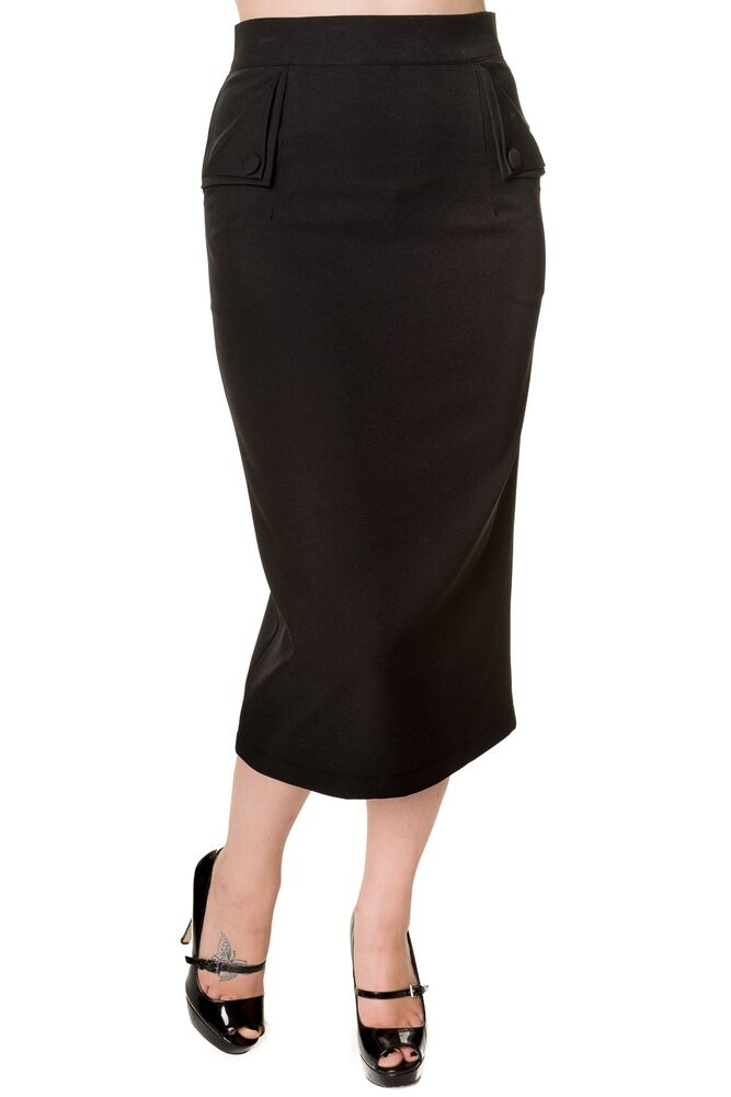 Banned Fitted Pencil Wiggle Skirt Rockabilly Retro 50s