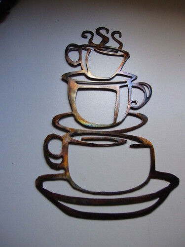 COFFEE CUPS Kitchen Home Decor Metal Wall Art Hanging EBay