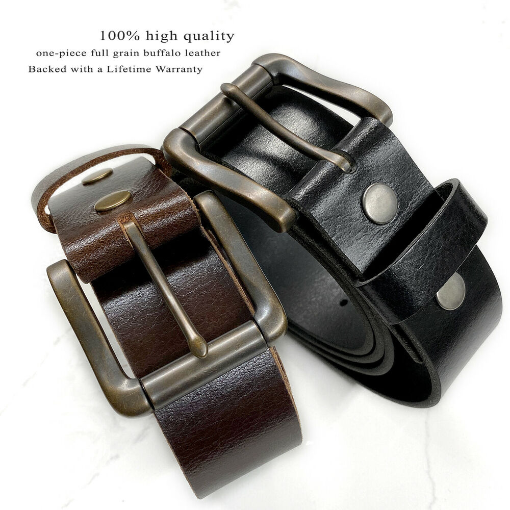 Roller Buckle Casual Jean Belt Full Grain Leather Belt 1