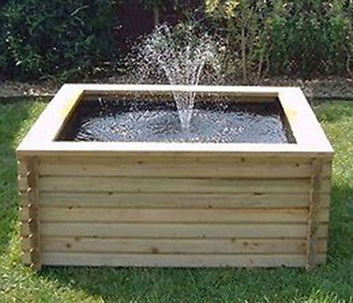 Square raised garden pool 120 gallon liner pump fish for Square fish pond