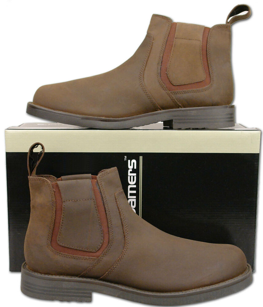 mens new brown leather chelsea dealer fashion ankle boots