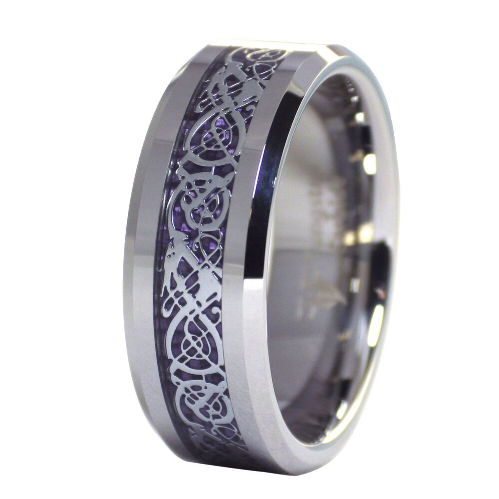 Celtic Ring Tungsten Plum Purple Celtic Dragon Ring