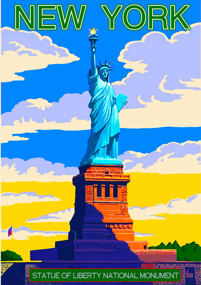 new york city statue of liberty united states travel advertisement art poster ebay. Black Bedroom Furniture Sets. Home Design Ideas