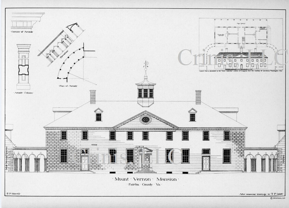 Mt Vernon Architectural Drawing With Floor Plan Of