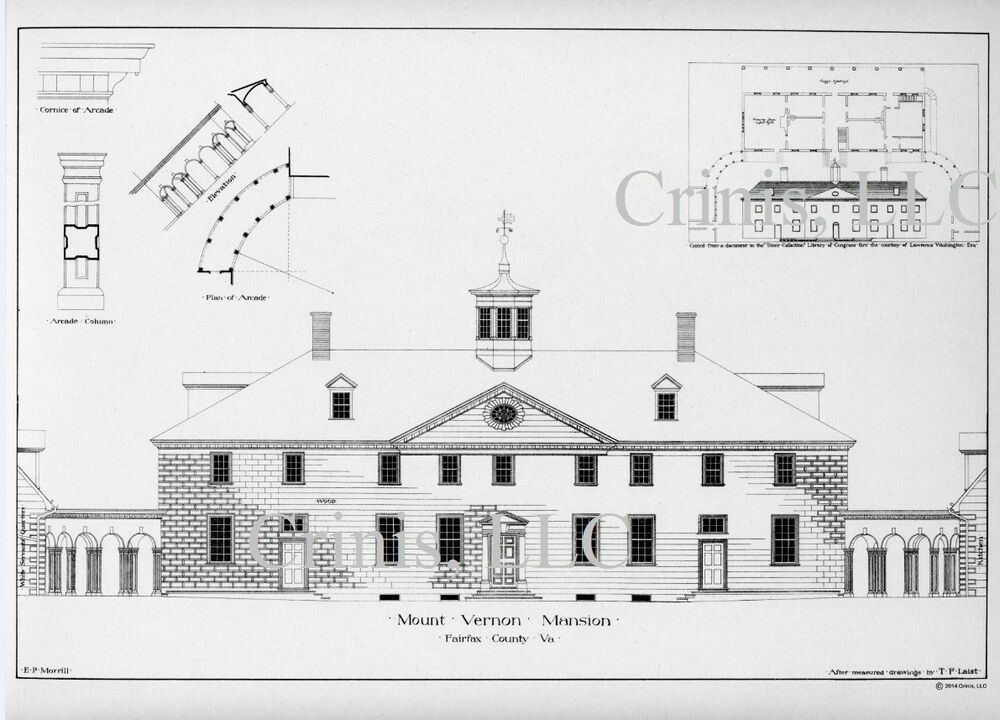 Mt vernon architectural drawing with floor plan of for Reproduction house plans