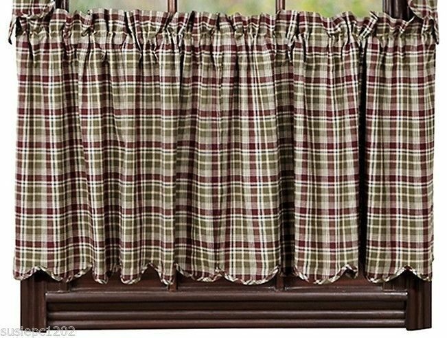 Jackson Lined Cafe Curtains Country Style Window Tier Set Red Green Plaid Ebay