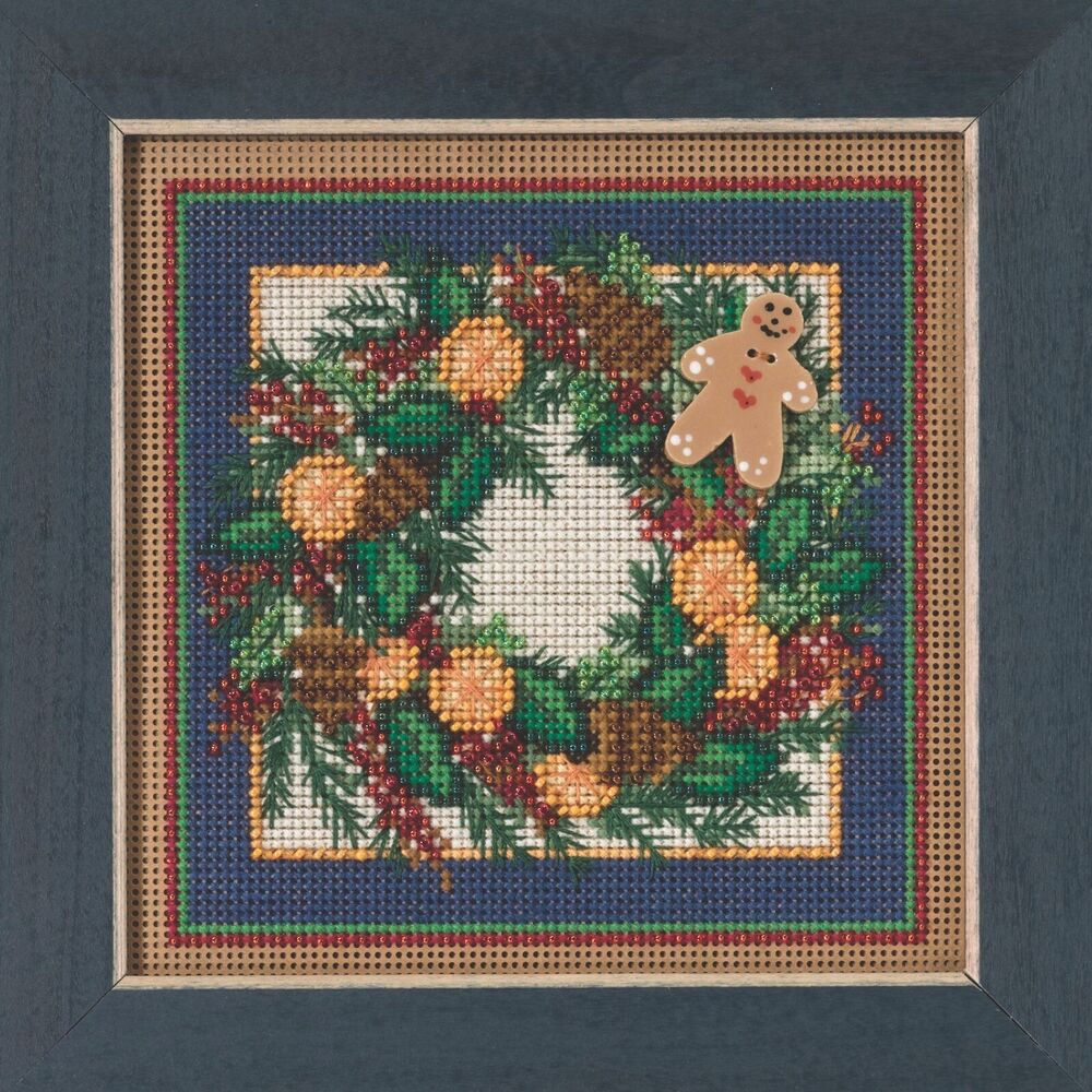 spiced wreath beaded cross stitch kit mill hill 2015