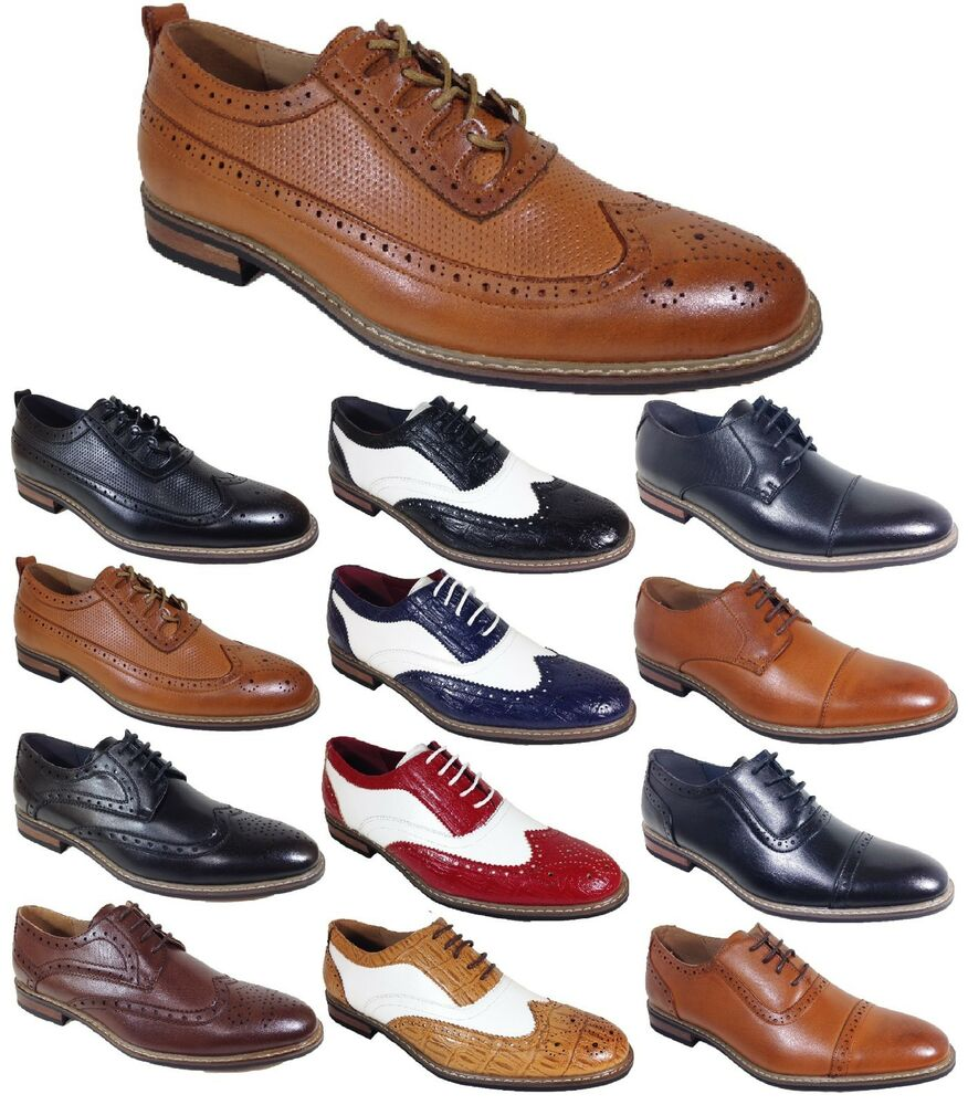 Mens Tan Wingtip Dress Shoes