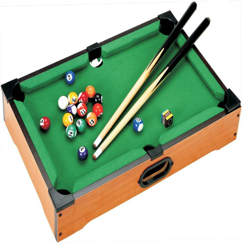 deluxe mini table top pool set childrens cue balls toy snooker game xmas gift ebay. Black Bedroom Furniture Sets. Home Design Ideas