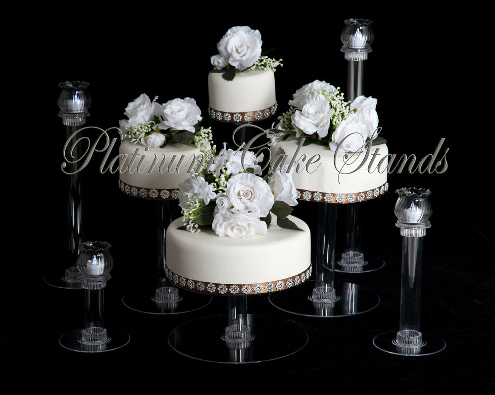 wedding cake set 4 tier cascade wedding cake stand w 4 votive set style 8746