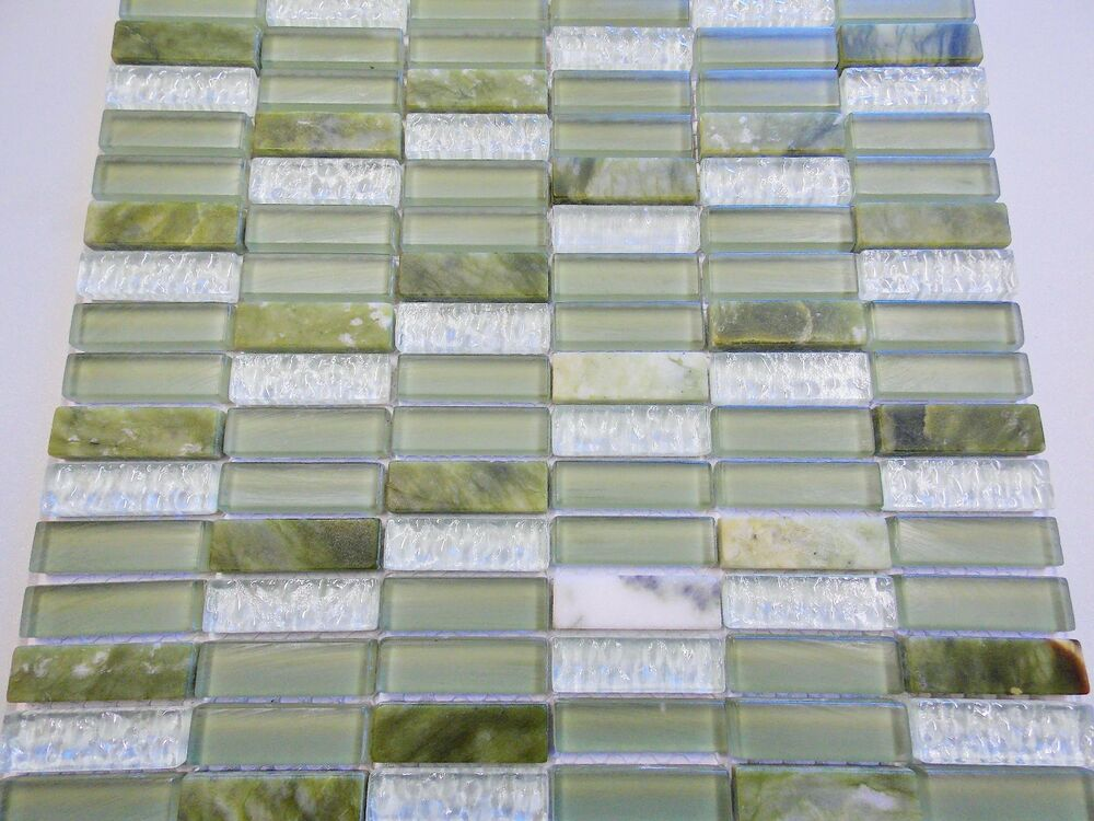glas naturstein effekt mosaik fliesen jade gr n mix sticks klarglas glasmosaik ebay. Black Bedroom Furniture Sets. Home Design Ideas