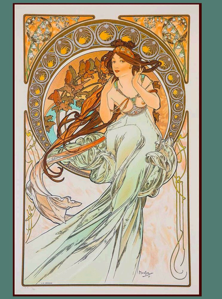 Music & Poetry French Nouveau Alphonse Mucha Vintage ...