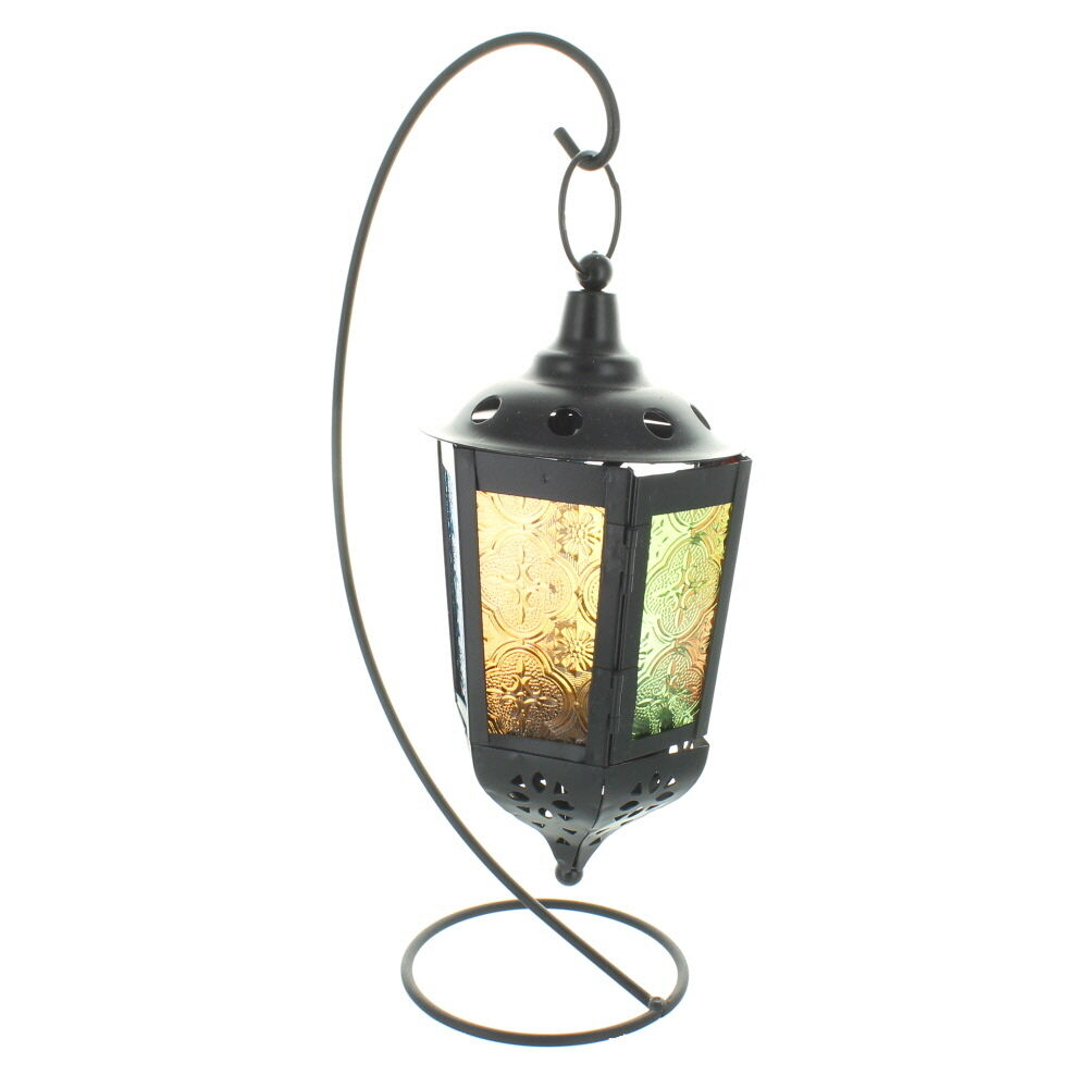 Outdoor String Lights Holders : Black Hanging Lantern With Coloured Glass On Stand eBay