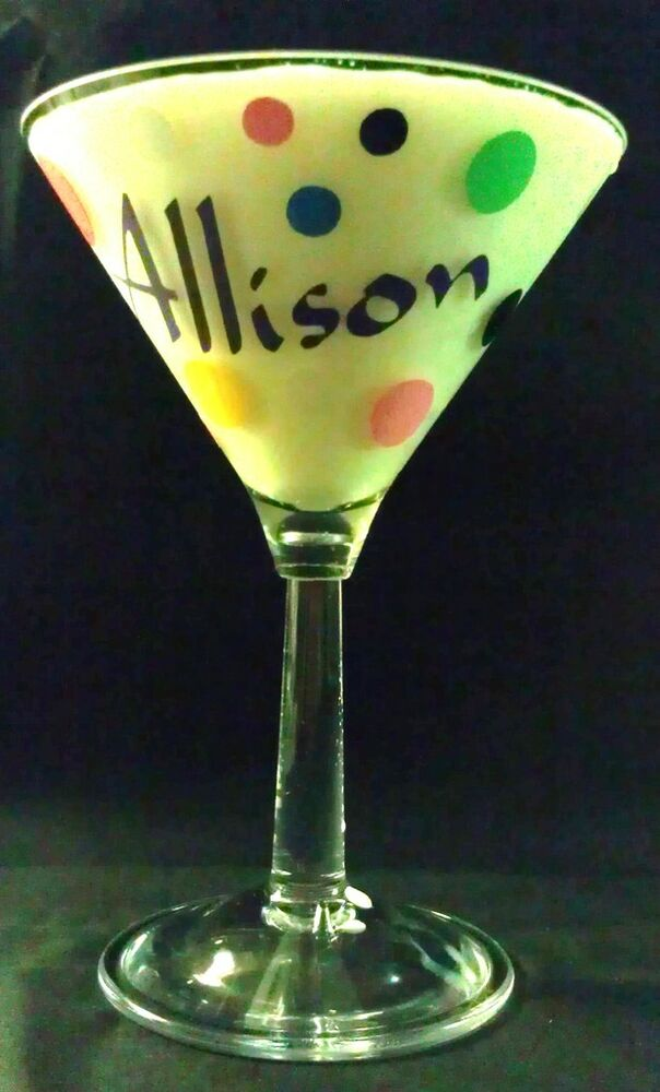 Personalized glass or acrylic martini glass drink with for Glass or acrylic