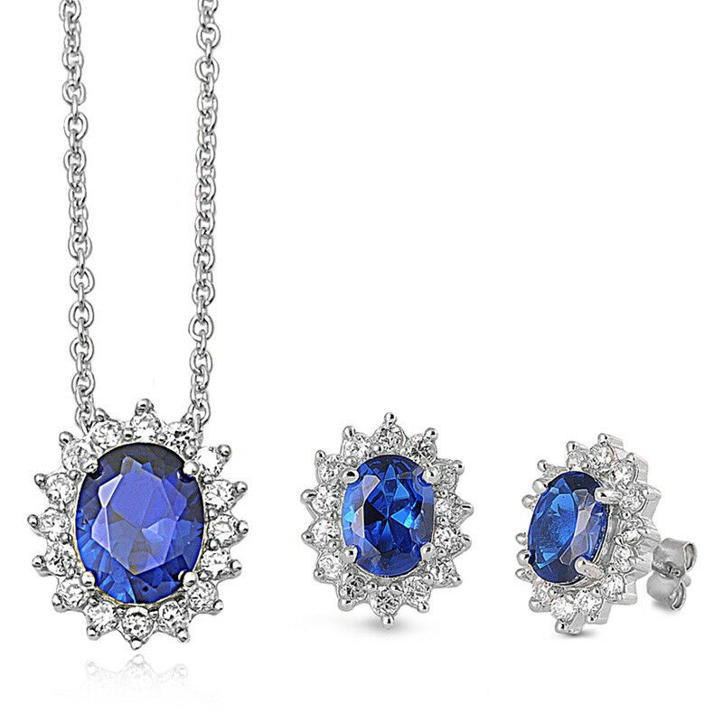 sapphire necklace and earrings set 925 sterling silver blue sapphire clear cz royal wedding 6911
