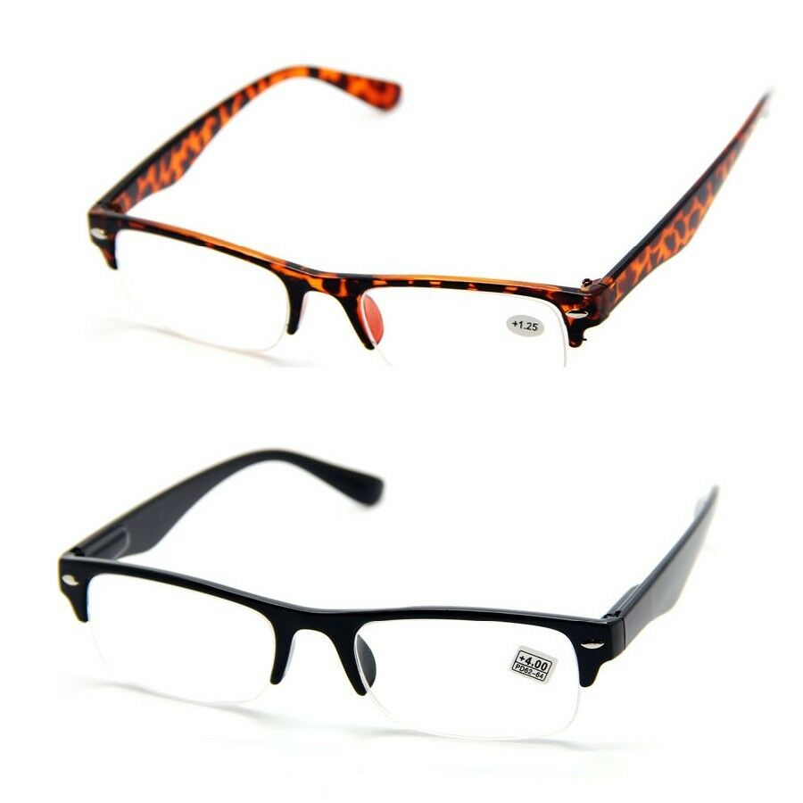 HALF RIM HALF FRAME READING GLASSES Eyeglasses Spectacles ...