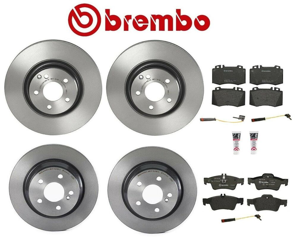 Mercedes w211 e500 base 03 06 brembo pagid front rear for Mercedes benz e350 brake pads replacement