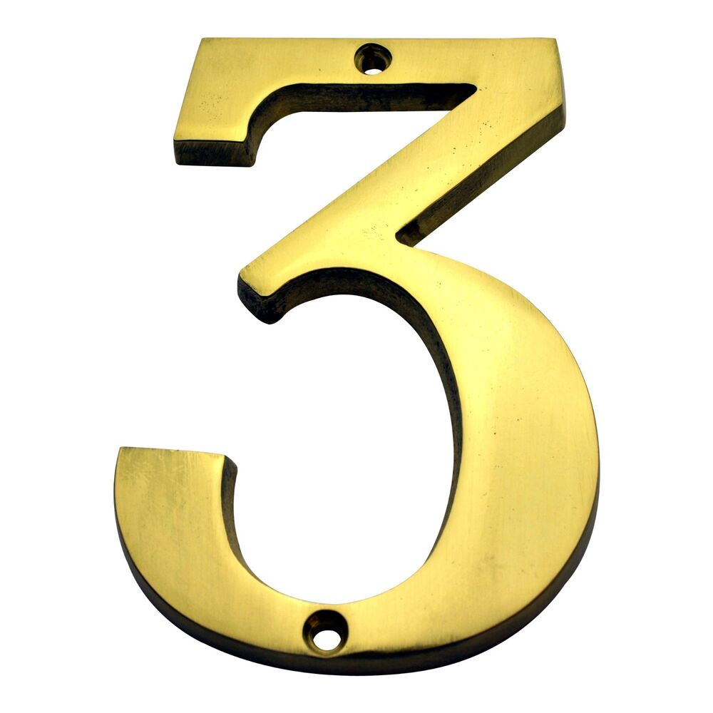 4 inch solid brass 3 house numbers home address plaque for House numbers