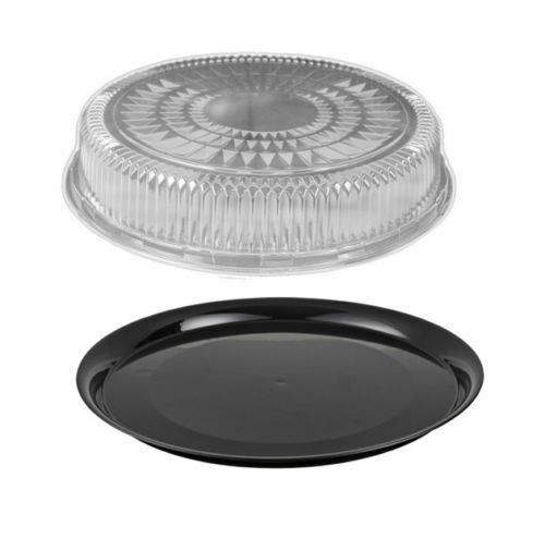 12 Quot Black Round Flat Disposable Catering Party Tray Food