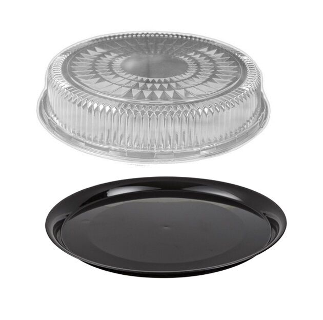 16 black round flat catering serving party tray food platter clear dome lid ebay. Black Bedroom Furniture Sets. Home Design Ideas