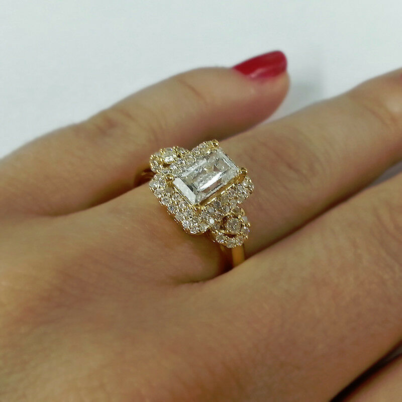 Engagement Rings In Gold: Certified 1.55Ct Diamond Engagement Ring Emerald Cut
