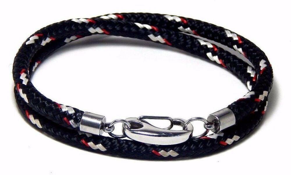 Nautical rope wrap bracelet heavy duty stainless snap hook for Heavy rope for nautical use