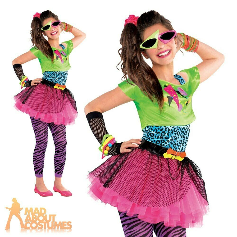 Girls 80s Totally Awesome Costume Teen Neon Pink Tutu