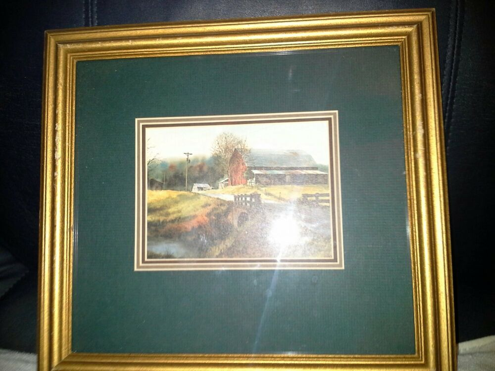 Vintage Jim Gray Gallery Wood Framed Print Quot Red Barn Quot Ebay