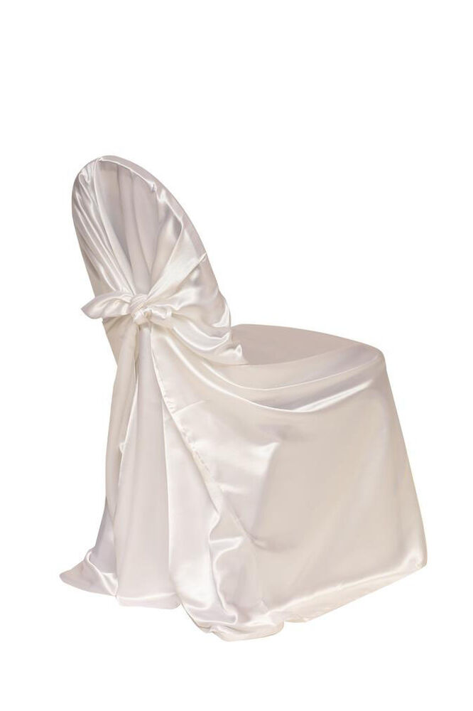 Satin Self Tie Universal Chair Covers White Ebay