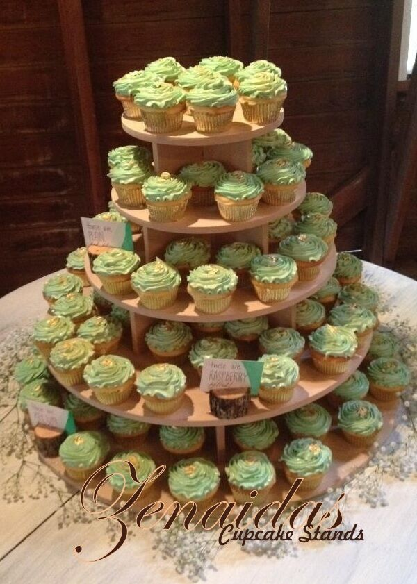 5 TIER CUPCAKE STAND ROUND WOOD DIY PROJECT CUPCAKE TOWER ...