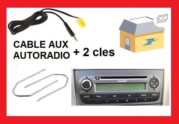 cable auxiliaire aux prise audio autoradio pour fiat grande punto cles ebay. Black Bedroom Furniture Sets. Home Design Ideas