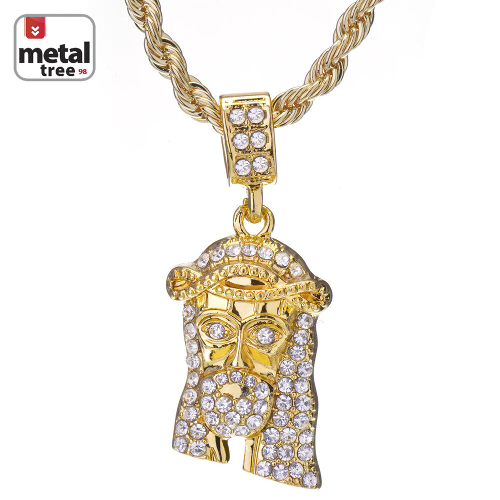 Men s hip hop k gold plated micro jesus piece quot rope