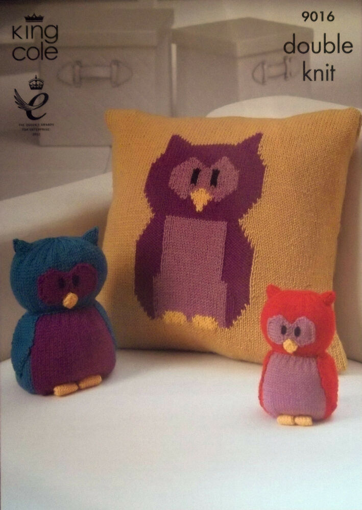 Owl Cushion Knitting Pattern : King Cole DK Owl Collection Knitting pattern Cushion Toy Doorstop 9016 eBay