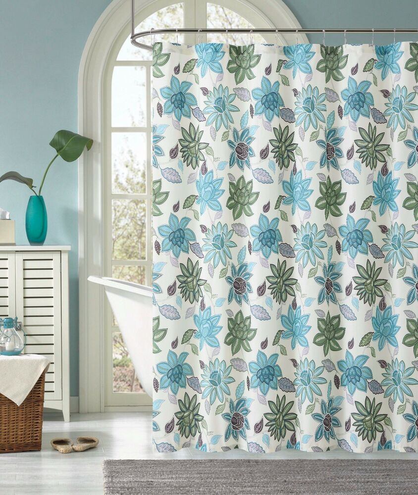 Sardinia Green Blue Floral Flower Fabric Cloth Bathroom Shower Curtain Ebay
