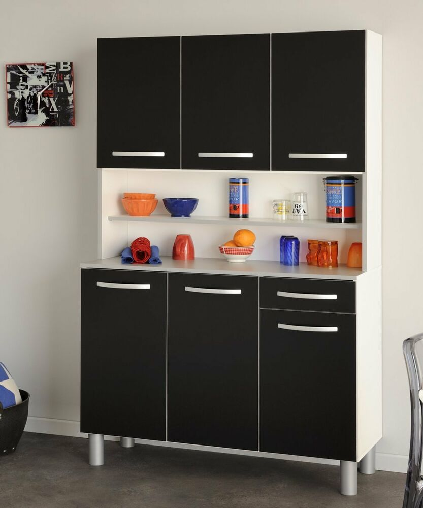buffet buffetschrank mehrzweckschrank k chenschrank k che stauraum weiss schwarz ebay. Black Bedroom Furniture Sets. Home Design Ideas