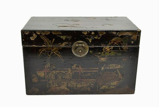 Collectible chinese antique wooden black painted storage for Storage treasures