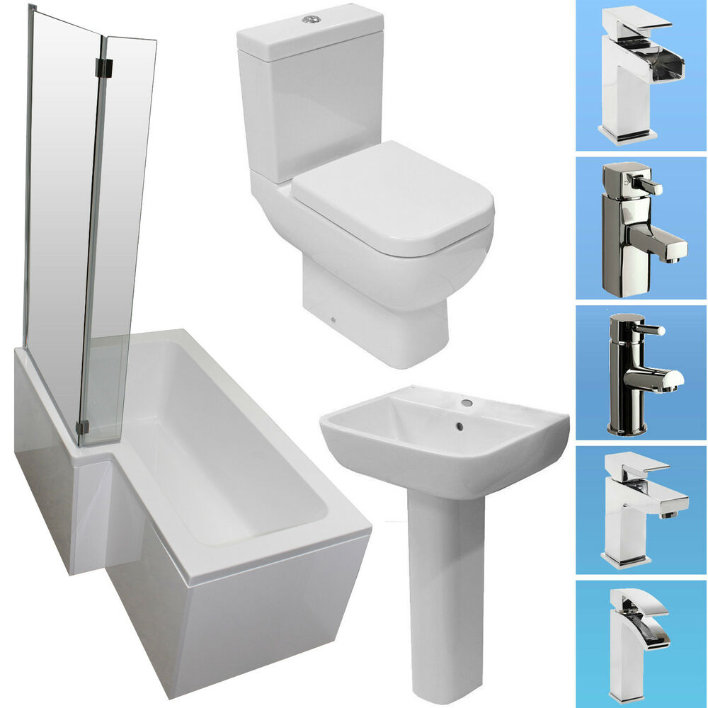 L Shape 1500mm Shower Bath Bathroom Suite Rak Toilet Basin