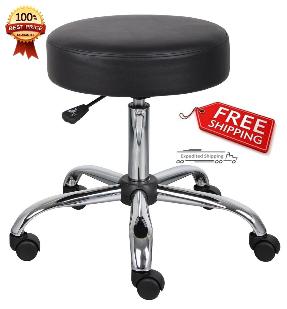 Medical Work Chair Rolling Casters Wheel Adjust Seat Office Black Stool Swive