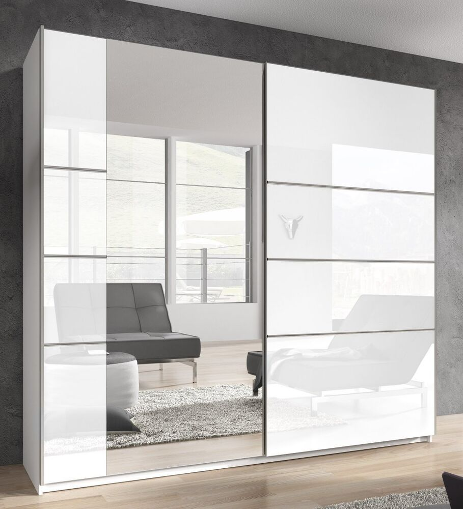 schwebet renschrank 2 trg b 220 cm spiegel schlafzimmer weiss hochglanz neu ebay. Black Bedroom Furniture Sets. Home Design Ideas
