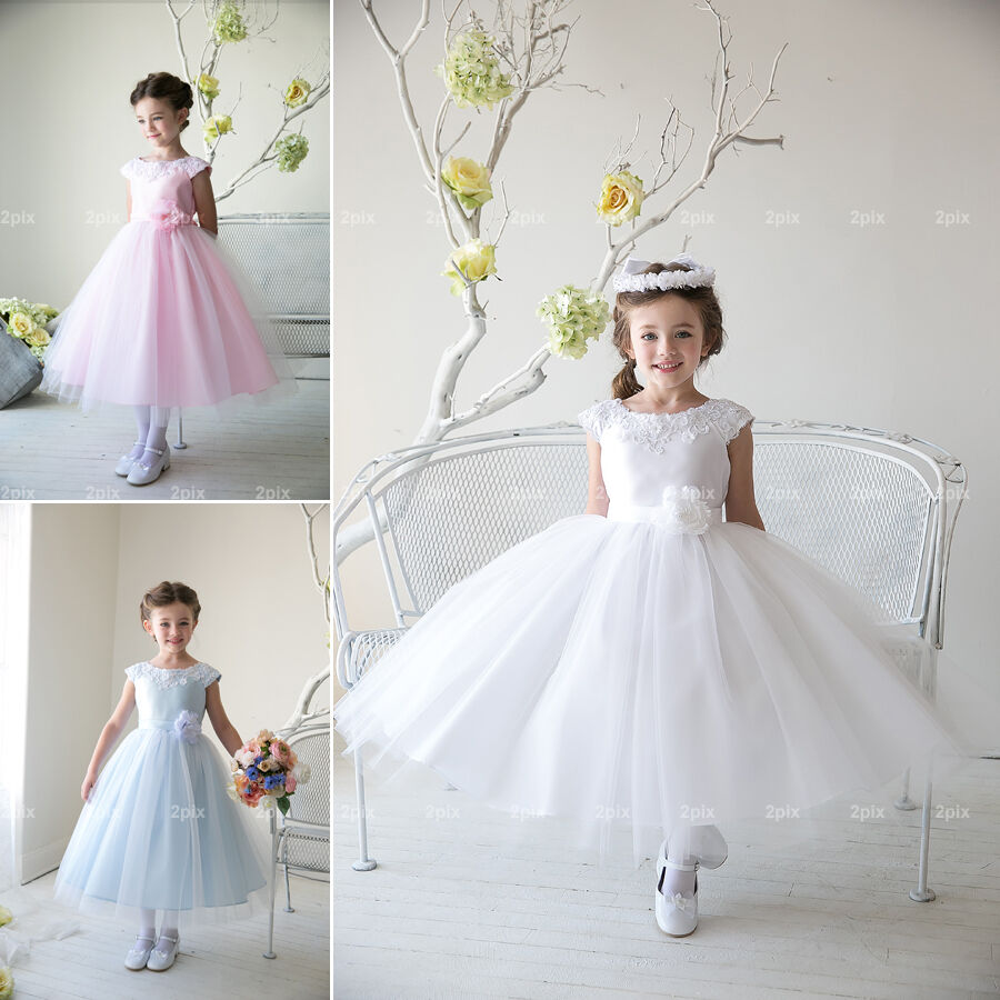 Flower girl dress wedding bridesmaid birthday pageant for Wedding dress made of flowers