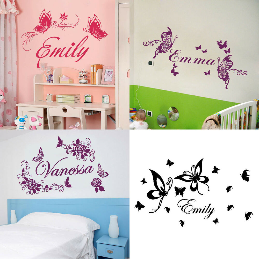 Personalized Custom Name Butterflies Flowers Home Room