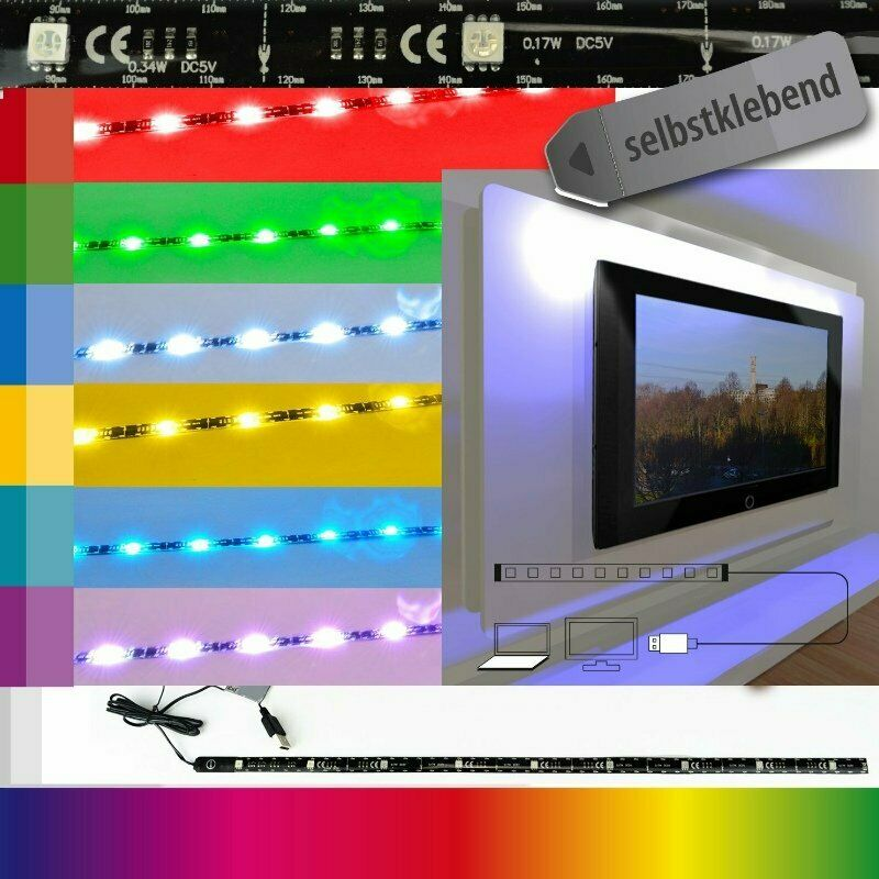x4 life led leiste tv hintergrundbeleuchtung 80 cm 32 usb 7 farben farbwechsel ebay. Black Bedroom Furniture Sets. Home Design Ideas