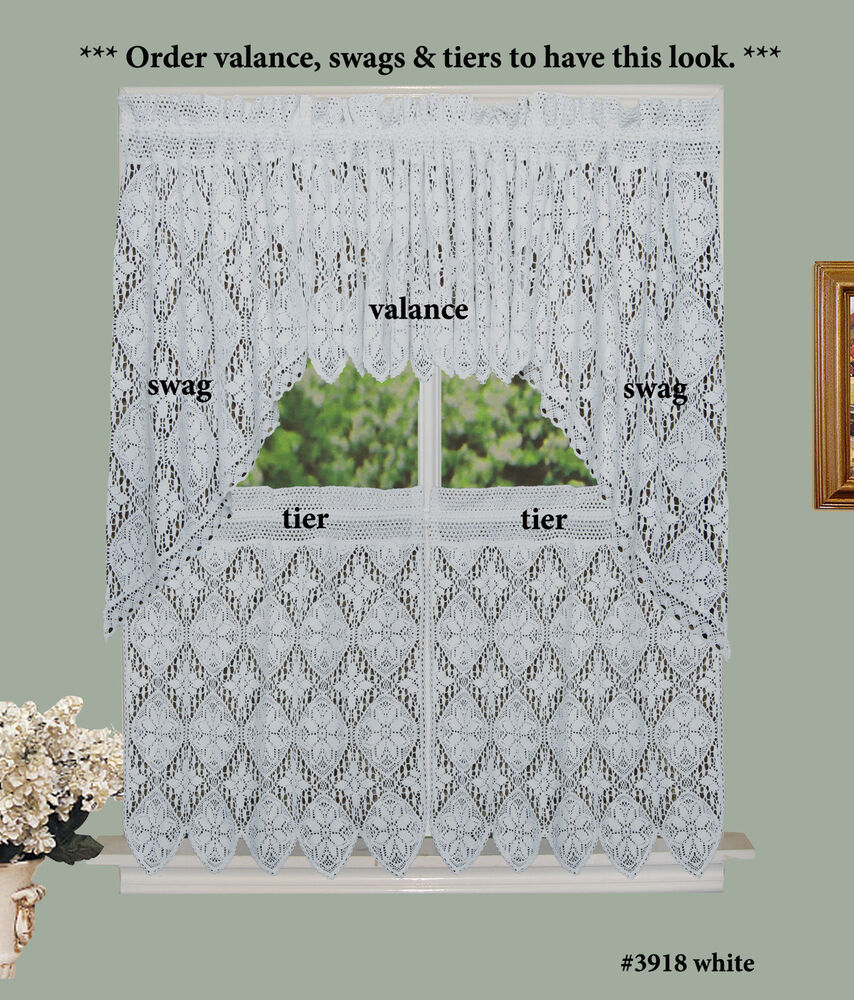 Creative Linens Crochet Lace Kitchen Curtain Valance Tiers or Swags ...