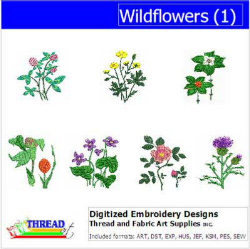 Embroidery design cd wildflowers designs