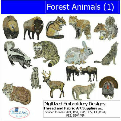Embroidery design cd forest animals designs