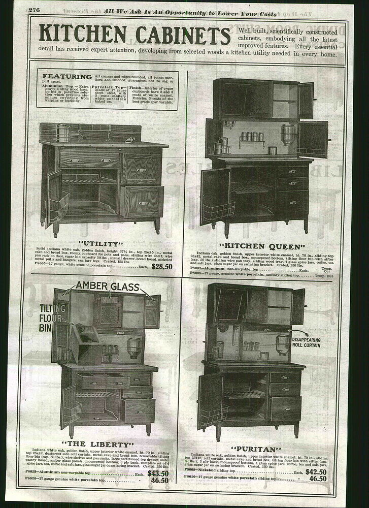 1920 advert hoosier type kitchen cupboard cabinet queen for Kitchen queen cabinet