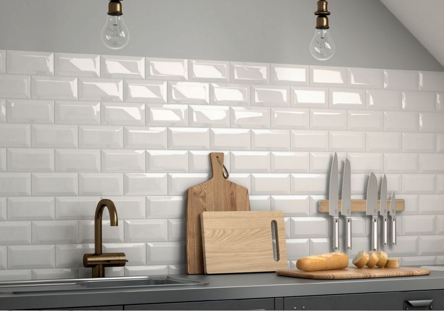 kitchen tiles wall pale grey gloss metro bevelled brick kitchen 3362