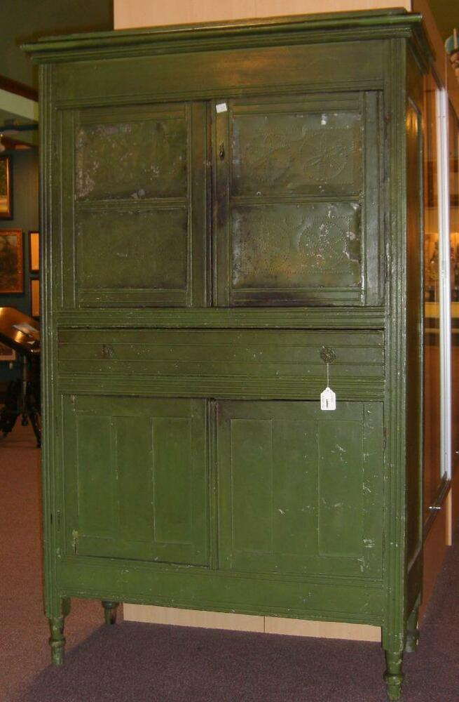 antique southern pie safe paneled punched tin in original paint