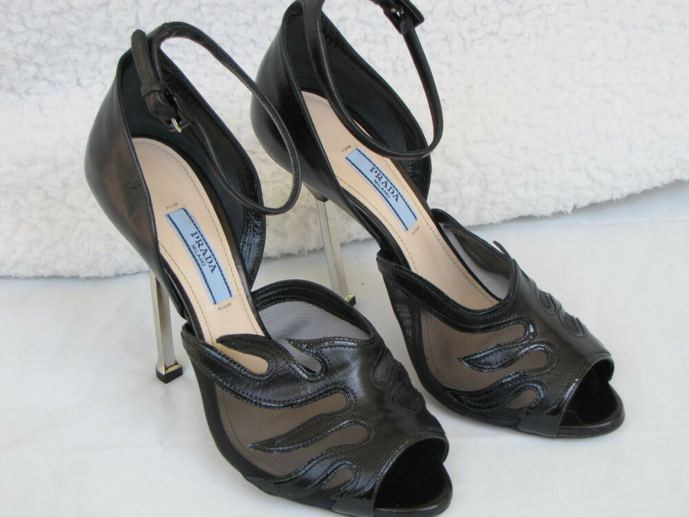 prada shoes peep toe heels mesh flame black 36 6 ebay. Black Bedroom Furniture Sets. Home Design Ideas